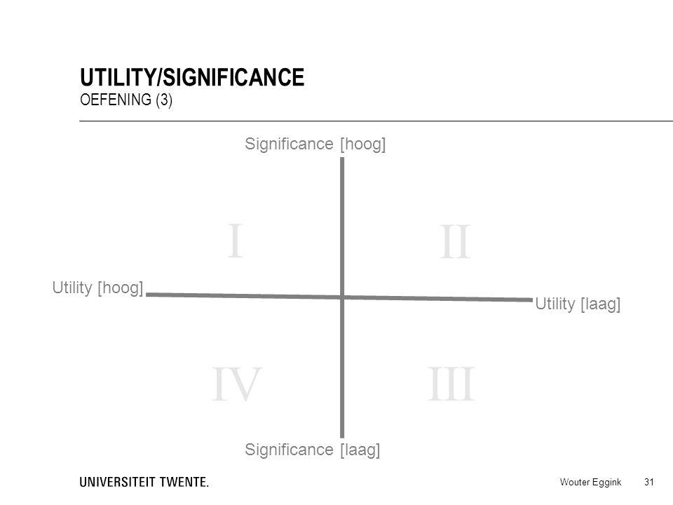I II IV III Utility/significance Oefening (3) Significance [hoog]